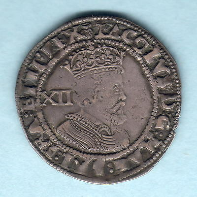 Great Britain. 1621-23 James 1 - Shilling..  MM-Thistle.. 3rd Coinage..  VF