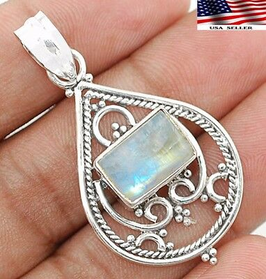 "3CT Rainbow Moonstone 925 Solid Sterling Silver Pendant Jewelry 1 3/4"" Long"