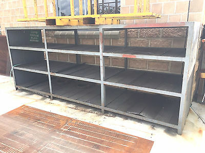 Large Industrial Heavy Duty Steel Storage Shelving Shelves With Timber Slats