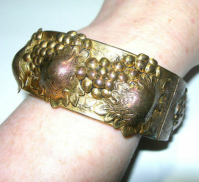 Vintage Art Nouveau Grapes And Leaves Repousse Bangle Bracelet Hinged