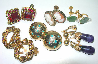 Vintage Antique Gold Filled Stone Old Earrings Lot Screw Back Clip On Jade Czech