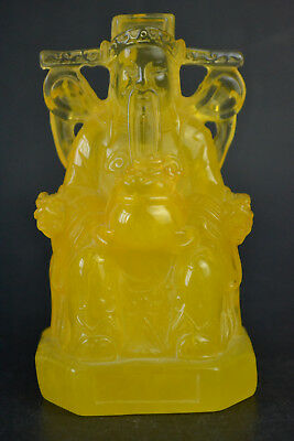 BIG Culture Collectible Decor Handwork Amber Resin yellow Mammon nice Statue