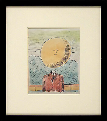 *Superb* Wonderful Surrealist Watercolour Painting Signed - Magritte