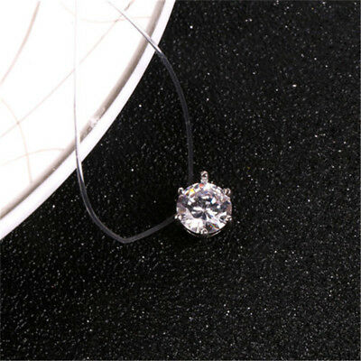 Zircon Statement Necklace Fashion Invisible Line Crystal Clear Pendant Necklace