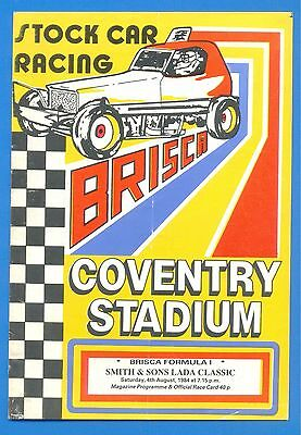 COVENTRY STADIUM.STOCK CAR RACING.4th AUGUST 1984.PROGRAMME