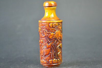 Asia Collectible Old HORN Relievo dragon lotus fish bird Snuff Bottle