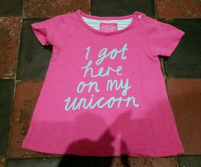 baby girls joules tee shirt 6-9 pink i got here on my unicorn excellent conditio