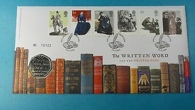 2005 Royal Mint First Day Cover 50P Coin The Written Word