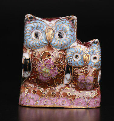 Cloisonne Figurine Animal Statue Owl Cub Handmade Gift Old Collection