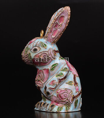 Chinese Cloisonne Figurine Animal Statue Statue Rabbit Handmade Gift Old Collect