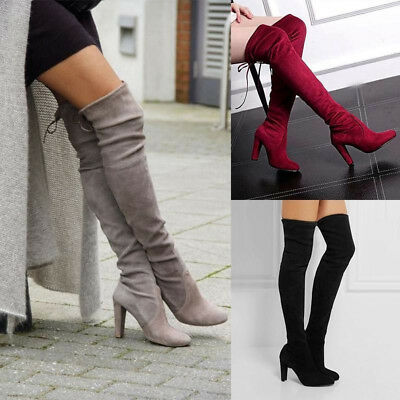 77dfabca347 Womens Lady Over The Knee Boots Suede High Heel Block Lace Thigh Shoes Size  3-
