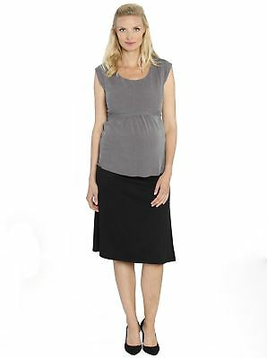 Maternity Work Outfit: Tie Back Dressy Top & Stretchy Skirt in Black