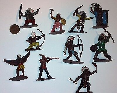 10x unbranded Native American Indians made of plastic