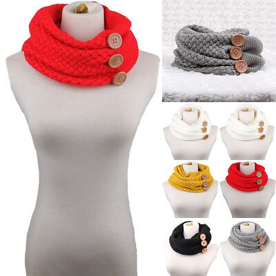 Women Winter Warm Infinity Two Circle Cable Knitted Neck Cowl Collar Scarf Shawl