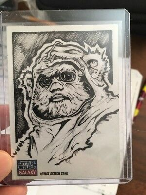 Topps Star Wars Galaxy Sketch Art Card By Andrew Griffith Rare Ewok