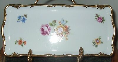 Reichenbach Rectangular Floral German Democratic Republic Relish Plate*Signed