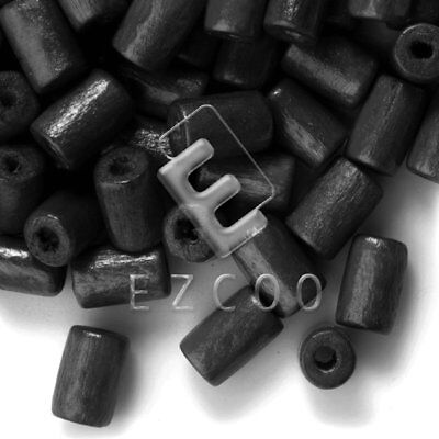 30g(200pcs About) Wood Spacer Beads Tube Craft Making Black 8x5mm Lots HCWB31
