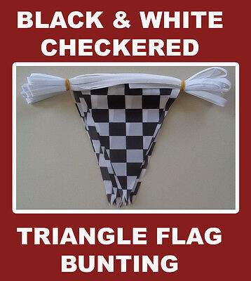 Checkered Flag Bunting Chequered Polyester Black & White Triangle Racing Flags