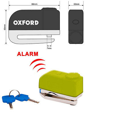 OXFORD SCREAMER Motorcycle Motorbike Alarm Disc Brake Lock 100dB 7mm Pin