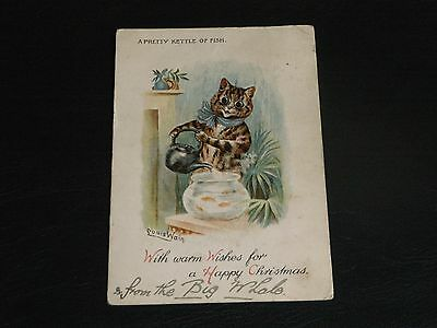 Original Louis Wain Signed Tuck Cat Postcard -  Pretty Kettle Of Fish, Xmas 1749