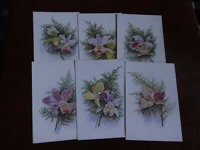ORIGINAL SET OF SIX ARMITAGE SIGNED TUCK FLORAL POSTCARDS - ORCHIDS No. 8851.