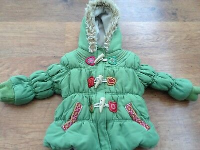 Next Girls Autumn Winter Fur Trim Hooded Colourful Coat 2-3Yrs