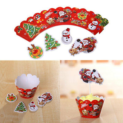 Set 12 pz copri pirottini wrapper pirottino carta muffin cup cake BUON NATALE