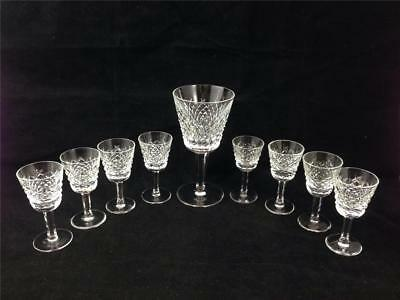 Alana Essence Waterford Crystal- (1) Goblet and (8) Sherry Liquor Mini Glasses