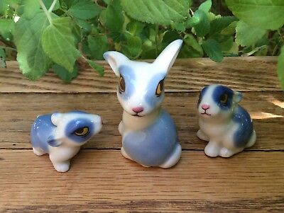 Vintage 1970's Wade Whimsies Happy Family Blue Bunny Rabbit Figurines Set