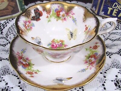 Rare Royal Albert Butterfly Floral Heavy Gold Avon Shape Tea Cup And Saucer