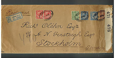 1916 London England Censored Registered Oversize coverto Sweden Red Wax Seals