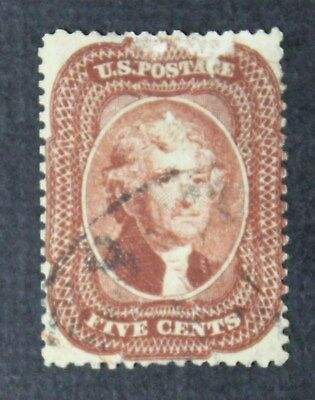 CKStamps: US Stamps Collection Scott#28 5c Jefferson Used Scratch, Thin CV$1050