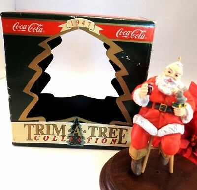 Coke Coca-Cola Ornament 1990 Trim A Tree Santa On a Stool With Bottle Of Coke