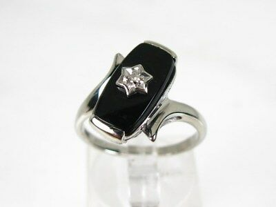 Antique 10k White Gold Natural Black Onyx & Diamond Ladies Ring 3.4g