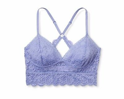 7bf165ad30d46 Xhilaration Wire Free Racerback Sheer Lace Bralette SMALL Periwinkle Blue  NWT