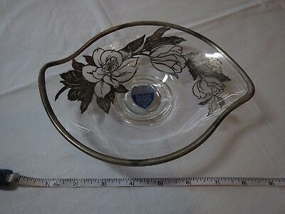 Rockwell sterling silver jewelry candy dish roses flowers nut flower glass tray