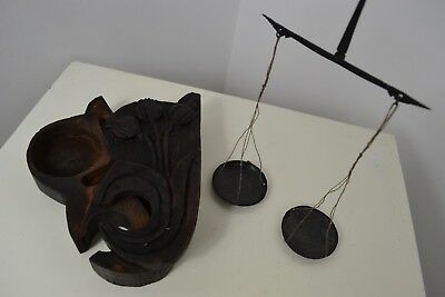 ANTIQUE 1700s GEORGIAN HAND CARVED SCOTTISH MADE METAL SCALES WITH WOOD CASE