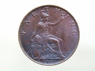 1901 Victorian Veiled Head Farthing, Stunning Coin - FREE POSTAGE (K76)