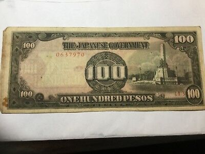 JAPAN WWII Occupation Bank note 100 Peso, circulated, several stains
