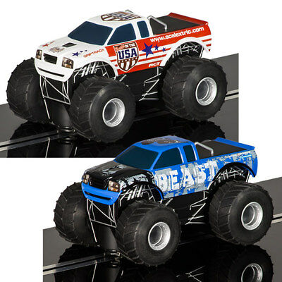 SCALEXTRIC Slot Cars 2x Monster Trucks - super resistant