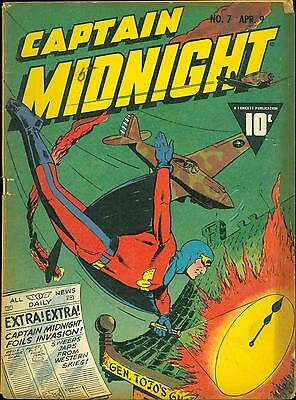 Captain Midnight 7 VG+Fawcett Japanese World War Two cover 1943  estate find