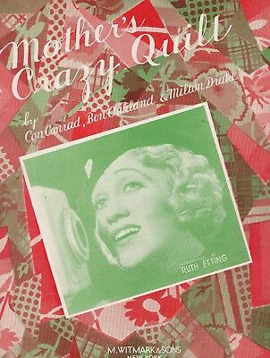 RUTH ETTING sheet music MOTHER'S CRAZY QUILT (1934)