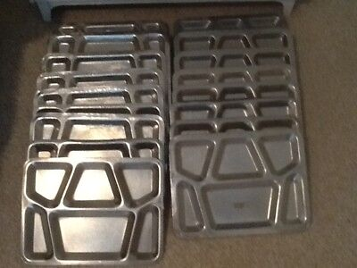 Vintage Us Navy Stainless Steel Food Trays Lot Of 18!!!