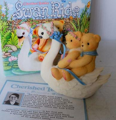 Cherished Teddies Figurine MATT and VICKIE SWAN RIDE 1998 #476781 Enesco NIB