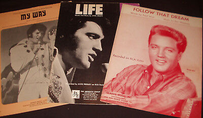 3 pcs ELVIS PRESLEY sheet music (with flaws) MY WAY, LIFE & FOLLOW THAT DREAM