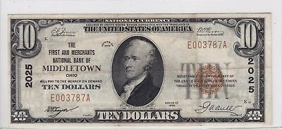 1929 First & Merchants National Bank of Middletown OH $10 Note CH 2025 E003787A