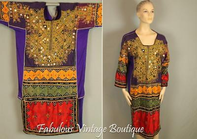 Vtg Old Traditional Kuchi Coin Balochi Ethnic Caftan Dress Hand Embroidered