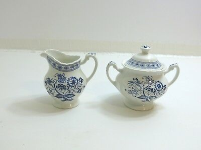 Vintage Classic J&g Meakin Blue Nordic Ironstone Sugar And Creamer Set