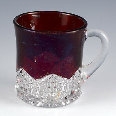 Antique EAPG Glass Ruby Flash Stained Small Handled Mug Cup Button & Arches