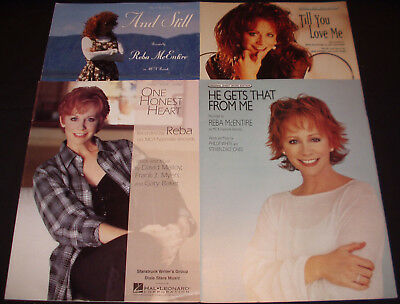 4 pcs REBA McENTIRE sheet music ONE HONEST HEART, HE GETS THAT FROM ME, AND STIL